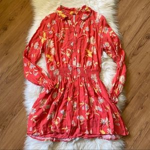 FREE PEOPLE RED FLORAL FIT & FLARE DRESS